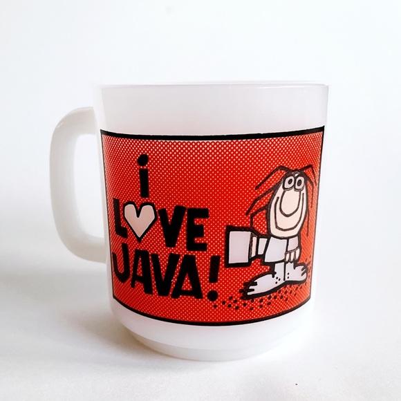 "Vintage 1980's glass bake ""I love Java"" mug"
